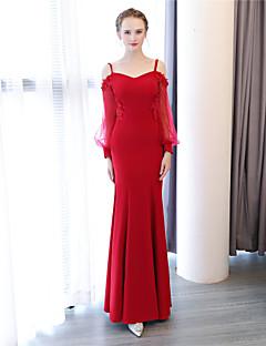 tanie Sukienki na zakończenie szkoły-Syrena Cienkie ramiączka Sięgająca podłoża Organza Satyna Szyfon satynowy Kolacja oficjalna Sukienka z Kwiat przez LAN TING Express