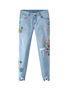 Dámské Není elastické Kalhoty chinos Džíny Kalhoty Rovné Mid Rise Výšivka