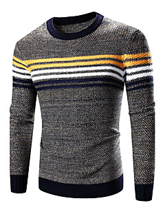 Men's Casual/Daily Vintage Regular Pullover,Solid Striped Color Block Round Neck Long Sleeves Others Winter Fall Thick Micro-elastic