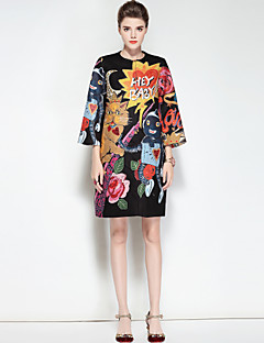 preiswerte Überbekleidung-Damen Retro Niedlich Boho Alltag Ausgehen Standard Trench Coat, Rundhalsausschnitt Winter Herbst Polyester Elasthan Druck
