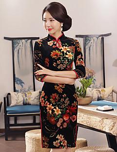 Χαμηλού Κόστους Chinoiserie Dresses-Γυναικεία Μεγάλα Μεγέθη Εφαρμοστό Φόρεμα - Φλοράλ Ως το Γόνατο Χαμηλοκάβαλο Όρθιος Γιακάς
