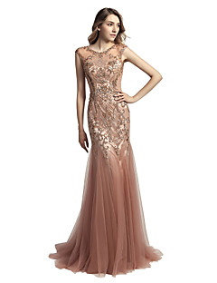 cheap Special Occasion Dresses-Mermaid / Trumpet Jewel Neck Court Train Tulle Prom / Formal Evening Dress with Beading Sequin by LAN TING Express