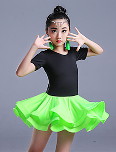 Shall We Latin Dance Outfits Children's Training Milk Fiber Short Sleeve High Skirts Leotard