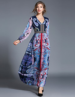 Maxlindy Women's Party Going out Casual/Daily Sexy Vintage Sophisticated A Line Dress,Patchwork V Neck Maxi Long Sleeves Polyester Fall Winter Mid