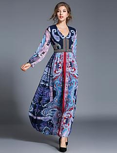 Для женщин Для вечеринок На выход На каждый день Секси Винтаж Изысканный А-силуэт Платье Пэчворк,V-образный вырез Макси Длинный рукав