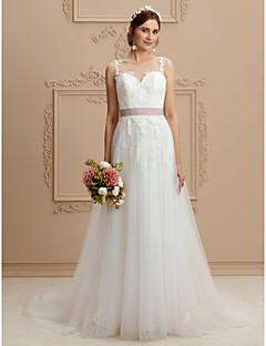 A-linje Besmykket Hoffslep Blonder Tyll Bryllupskjole med Appliqué Skerfer / Bånd av LAN TING BRIDE®