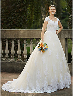cheap Wedding Dresses-Ball Gown Queen Anne Cathedral Train Lace Over Tulle Custom Wedding Dresses with Beading Appliques by LAN TING BRIDE®