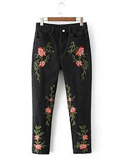 Dámské Mikro elastické Džíny Kalhoty Štíhlý Mid Rise Výšivka Výšivka