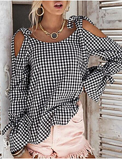 cheap -Women's Going out Cute Casual Loose Shirt - Color Block Bow