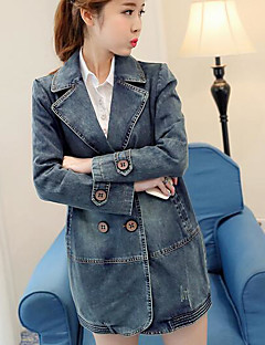 Women's Casual/Daily Vintage Fall Trench Coat,Print Shirt Collar Long Sleeve Long Polyester