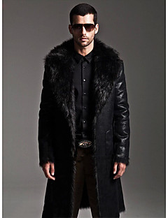 Men's Daily Simple Casual Winter Fall Fur Coat,Solid Shirt Collar Long Sleeve Long Faux Fur Faux Leather