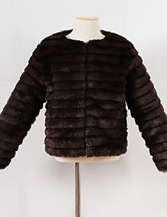 女の子 ゼブラプリント フェイクファー 特殊毛皮タイプ ジャケット&コート 冬 長袖