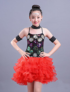 Shall We Latin Dance Dresses Children's Performance Spandex Paillette Sleeveless High Dresses