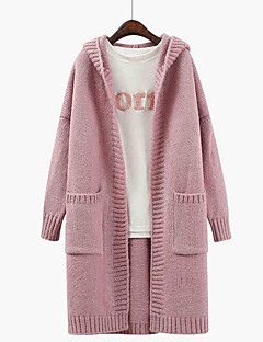 Women's Daily Regular Cardigan,Solid Hooded Long Sleeves Others Spring Fall Medium Micro-elastic
