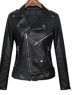 cheap Women's Furs & Leathers-Women's Street chic Leather Jacket-Solid Colored