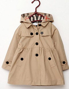 cheap Girls' Jackets & Coats-Girls' Solid Trench Coat, Others Fall Long Sleeves Red Khaki