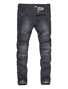 Herre Vintage Bohem Punk & Gotisk Mikroelastisk Skinny Jeans Bukser,Tynn Mellomhøyt liv Flettet Ensfarget