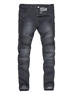 Herren Retro Boho Punk & Gothic Mittlere Hüfthöhe Mikro-elastisch Eng Jeans Skinny Hose,Gefaltet Solide