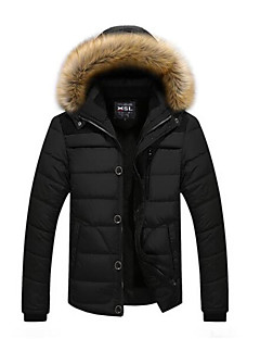 Men's Padded Coat,Casual Daily Solid-Cotton Cotton Long Sleeves