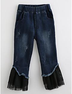 billige Bukser og leggings til piger-Pige Jeans Ensfarvet, Bomuld Efterår Navyblå