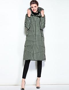 cheap Women's Downs & Parkas-MARY YAN&YU Women's Daily Going out Cute Street chic Striped Long Down, Long Sleeves