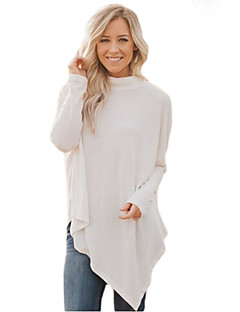 Women's Going out Cute Regular Pullover,Solid Turtleneck Long Sleeves Polyester Spandex Fall Medium Stretchy