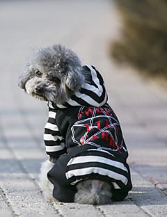 billiga Hundkläder-Hund Kappor Huvtröjor Jumpsuits Tröja Hundkläder Geometrisk Grå Svart Tyg Cotton Kostym För husdjur Ledigt/vardag Håller värmen Sport
