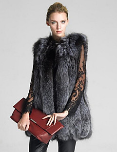 Women's Daily Simple Casual Winter Fall Fur Coat,Solid Round Neck Long Fox Fur