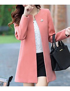 Women's Going out Simple Casual Winter Fall Coat,Solid Round Neck Long Sleeve Regular Polyester