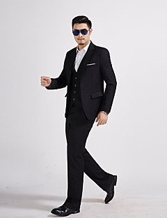 お買い得  スーツ-男性用 スーツ ソリッド, コットン