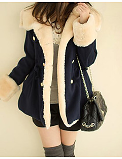 Women's Casual/Daily Simple Winter Fur Coat,Color Block Hooded Long Sleeve Long Others