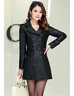 Women's Going out Street chic Fall Leather Jacket,Solid Shirt Collar Long Sleeve Regular PU