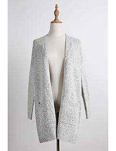 Feminino Suéter Casual Vintage Moda de Rua Inverno Primavera/Outono,Sólido Vintage Algodão Tecido de Lã Decote Redondo Manga Longa Média