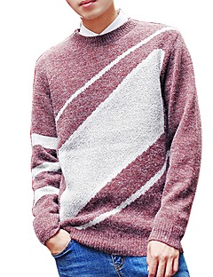 メンズ カジュアル/普段着 ワーク レギュラー プルオーバー,幾何学模様 ラウンドネック 長袖 アクリル ポリエステル 秋 冬 ミディアム マイクロエラスティック