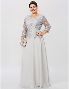 Sheath / Column Jewel Neck Floor Length Chiffon Lace Mother of the Bride Dress with Beading Sash / Ribbon by LAN TING BRIDE®