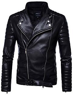 Χαμηλού Κόστους Men's Leather Jackets-Ανδρικά Σακάκι Πανκ & Γκόθικ - Μονόχρωμο Ψεύτικο Δέρμα Όρθιος Γιακάς Λεπτό