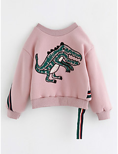 billige Hættetrøjer og sweatshirts til piger-Pige Bluse Dyretryk, Bomuld Vinter Langærmet Lyserød