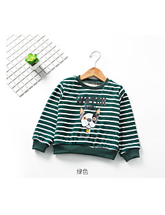 Jente T-skjorte Linjer / bølger Bomull Polyester Høst Grønn Rød