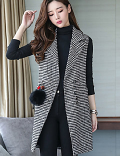 Damen Solide Einfach Ausgehen Lässig/Alltäglich Weste Winter Herbst Ärmellos Standard Polyester