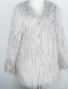 tanie -Futro-Damskie Vintage Zima Codzienne-Okrągły dekolt Jendolity kolor-Długi rękaw Długi Inne