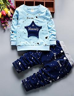 billige Tøjsæt til drenge-Drenge Tøjsæt Geometrisk, Bomuld Alle årstider Langærmet Afslappet Aktiv Blå Rød Gul