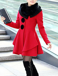Women's Daily Simple Casual Winter Fur Coat,Solid Shawl Lapel Long Sleeve Long Cotton