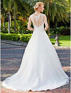 billiga Plusstorlek brudklänningar-A-linje / Prinsessa V-hals Golvlång Tyll på spets Bröllopsklänningar tillverkade med Applikationsbroderi / Spets av LAN TING BRIDE® / Genomskinliga / Vacker i svart