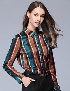 preiswerte -Damen Gestreift Einfarbig Retro Ausgehen Lässig/Alltäglich Hemd,Hemdkragen Herbst Langarm 100% Polyester Dünn