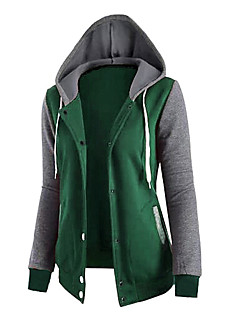 Women's Daily Hoodie Color Block Micro-elastic Cotton Fall