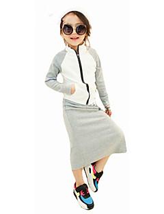 billige Tøjsæt til piger-Pige Tøjsæt Ensfarvet Simpel, Bomuld Alle årstider Langærmet Afslappet Gade Grå