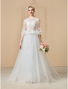 A-Line Princess Illusion Neckline Chapel Train Lace Tulle Wedding Dress with Beading Appliques Buttons by LAN TING BRIDE®