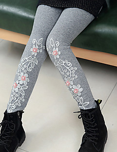 Girls' Solid Jacquard Cartoon Pants,Cotton Winter Fall Cute Casual Active Cartoon Black Gray