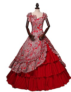 Vintage Victoriaans Kostuum Vrouwelijk Volwassenen Badpak Jurken Rok Rood Vintage Cosplay Katoen Korte mouw Vlinder Tot de enkel