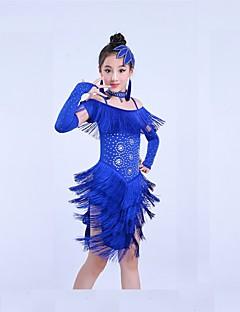 お買い得  子供用ダンスウェア-ラテンダンス セット 子供用 訓練 スパンデックス タッセル 半袖 ナチュラルウエスト ドレス ショートパンツ ヘッドピース